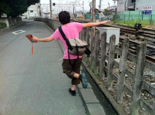 めんまちゃんが塀の上を歩くシーンを再現