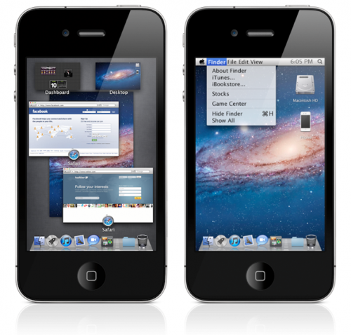 iPhoneでMission Controlだと!iPhoneのUIがMac OS X Lionになってるムービー。