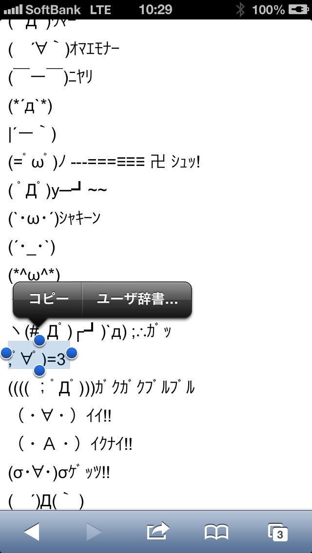 iPhoneのSafariで文字を選択。