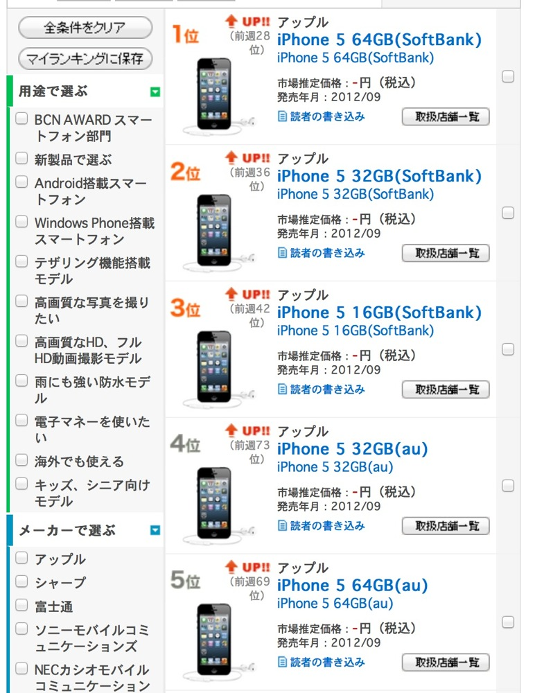 Bcr softbank iphone 5 rank