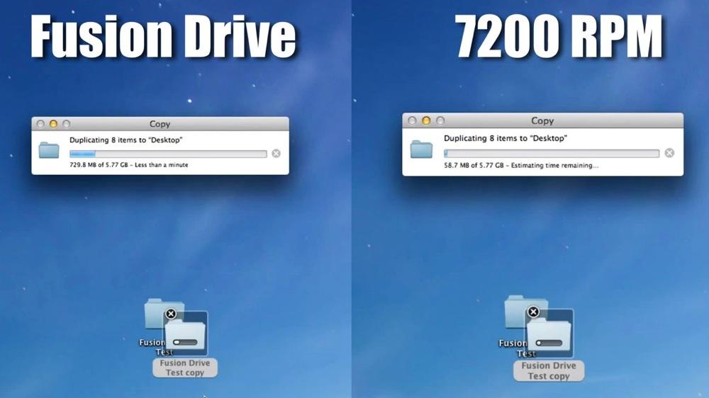 Fusion driveはファイルのコピー速度も10倍近くHDDより速い