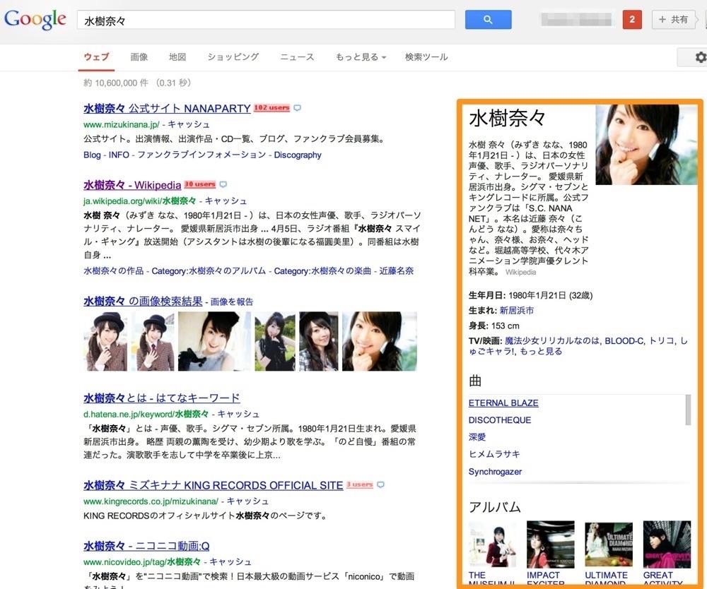 水樹奈々のGoogle検索