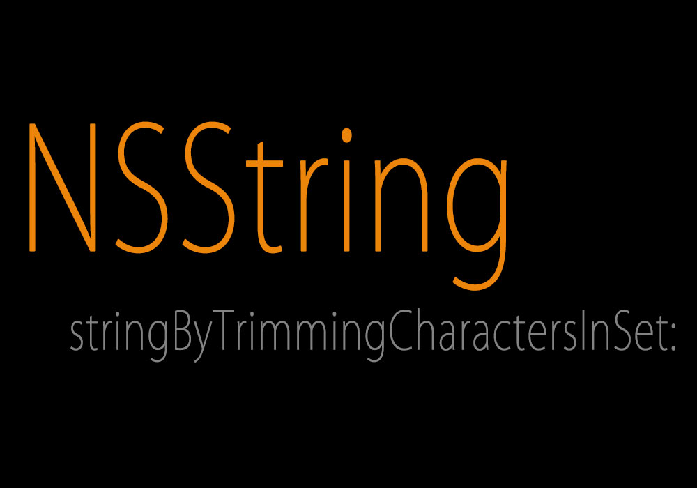 Nsstring stringByTrimmingCharactersInSet