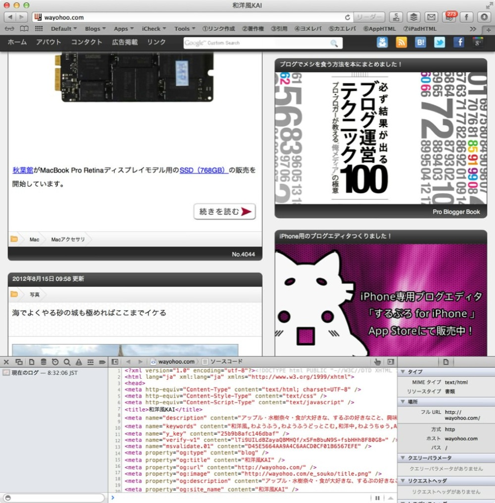 Safari source code view 00