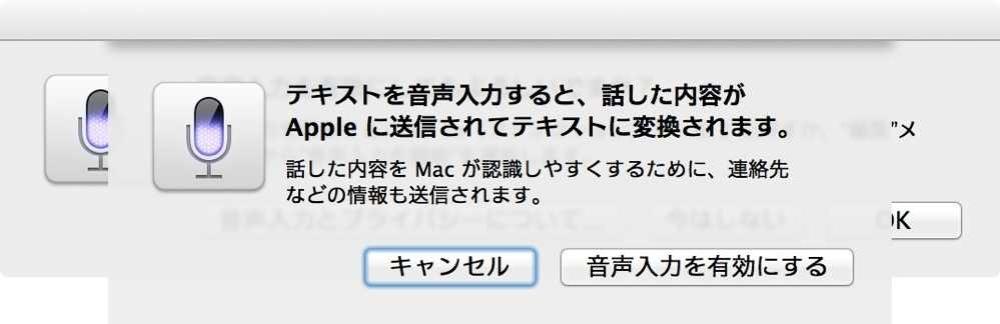 テキストを音声入力すると、話した内容がAppleに送信されてテキストに変換されます。