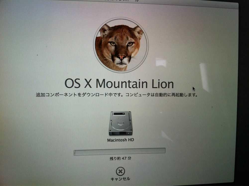 OS X Mountain Lionのインストールがはじまりました。