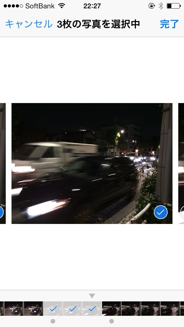 バーストモードで撮った写真をカメラロールに載せる方法