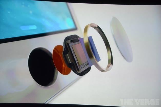 iPhone 5sのホームボタンは指紋認証センサーになっている。