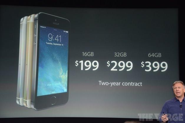 iPhone 5sの価格表