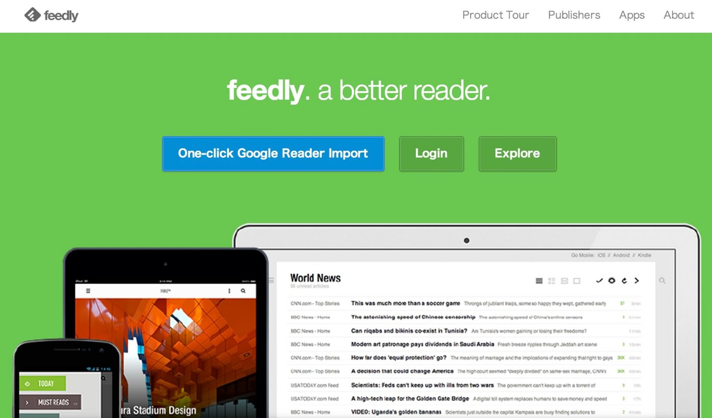 Feedly top page