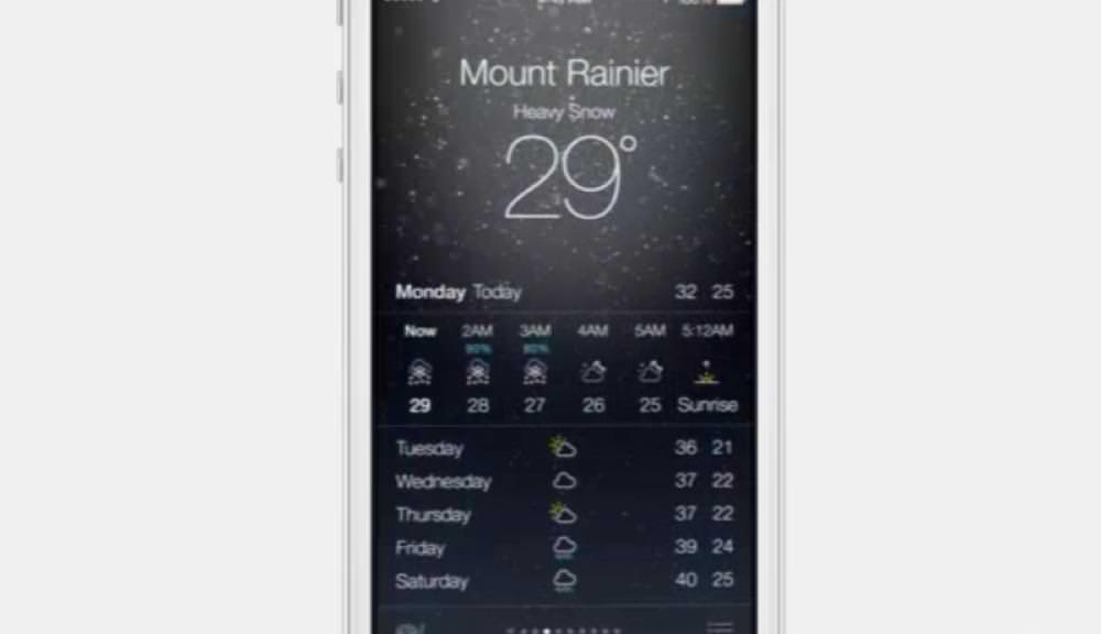 iOS 7の天気アプリ