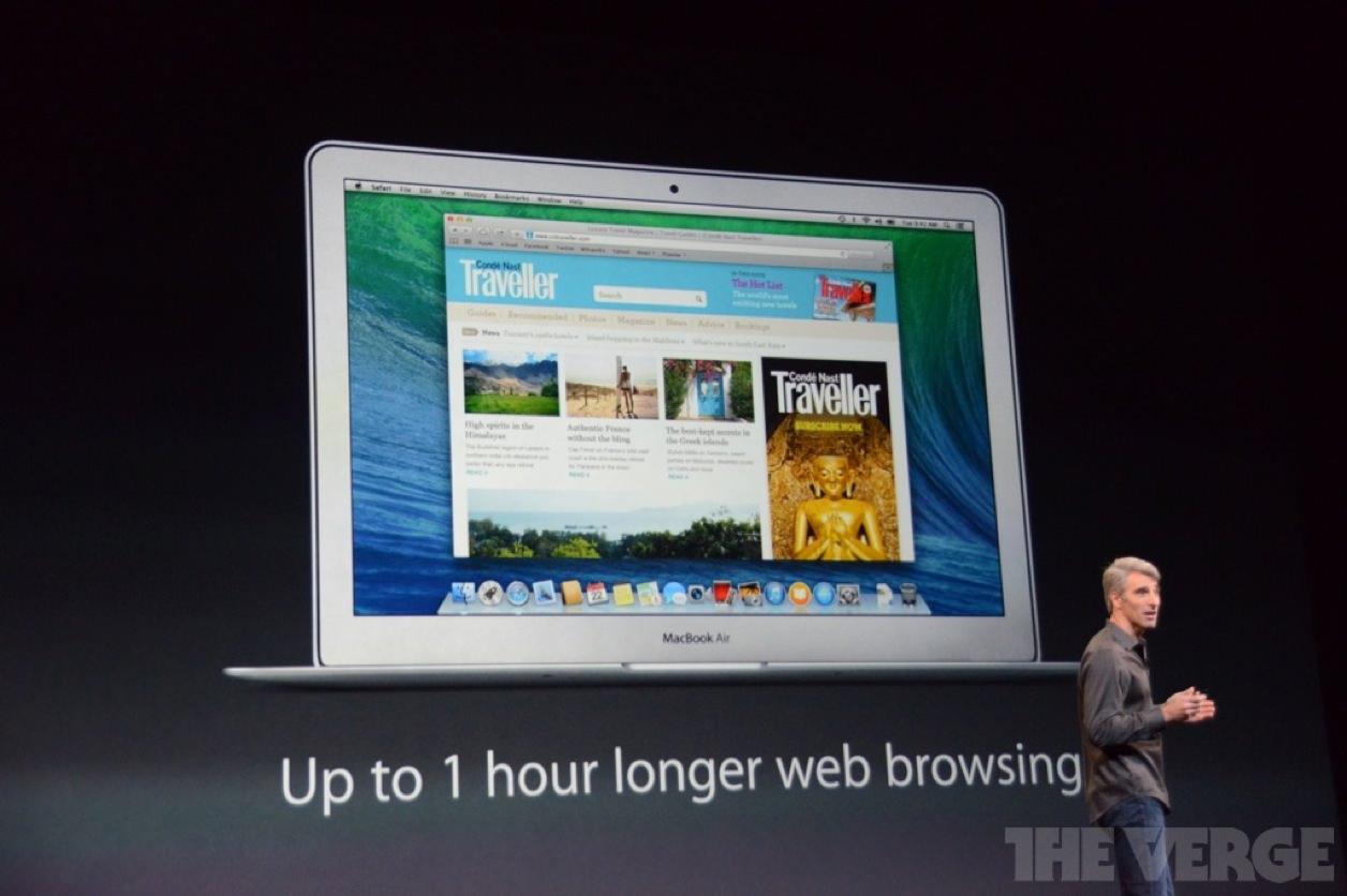 OS X Mavericks(マーベリックス)を使うと1時間ウェブブラウジングができる時間がアップする
