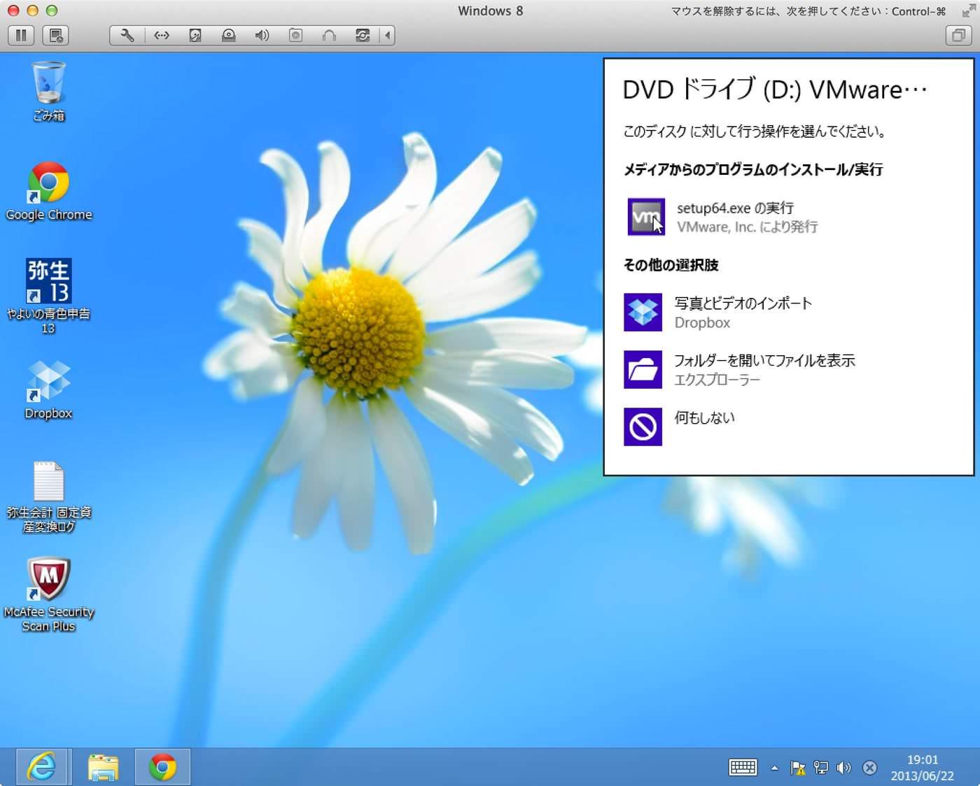 DVDドライブ(D:)VMware…ダイアログ