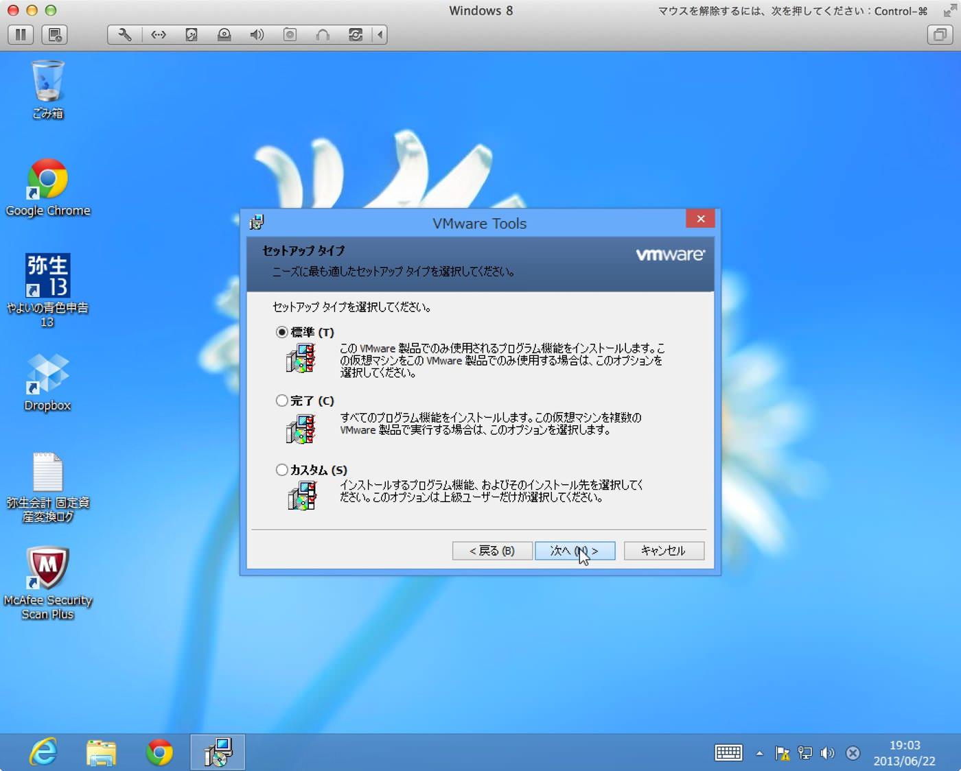 Vmware toolsセットアップ タイプ