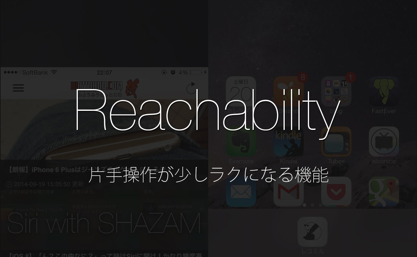 iPhone 6 / 6 Plusの片手操作が少しラクになるReachability