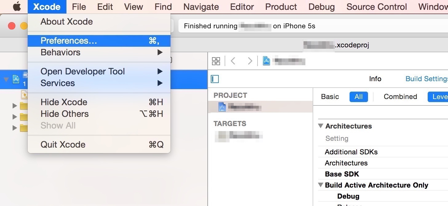 Xcode - Preferences