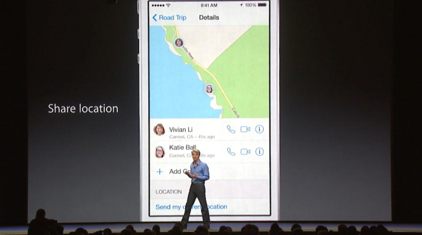 iOS8のメッセージは現在地を共有できます。