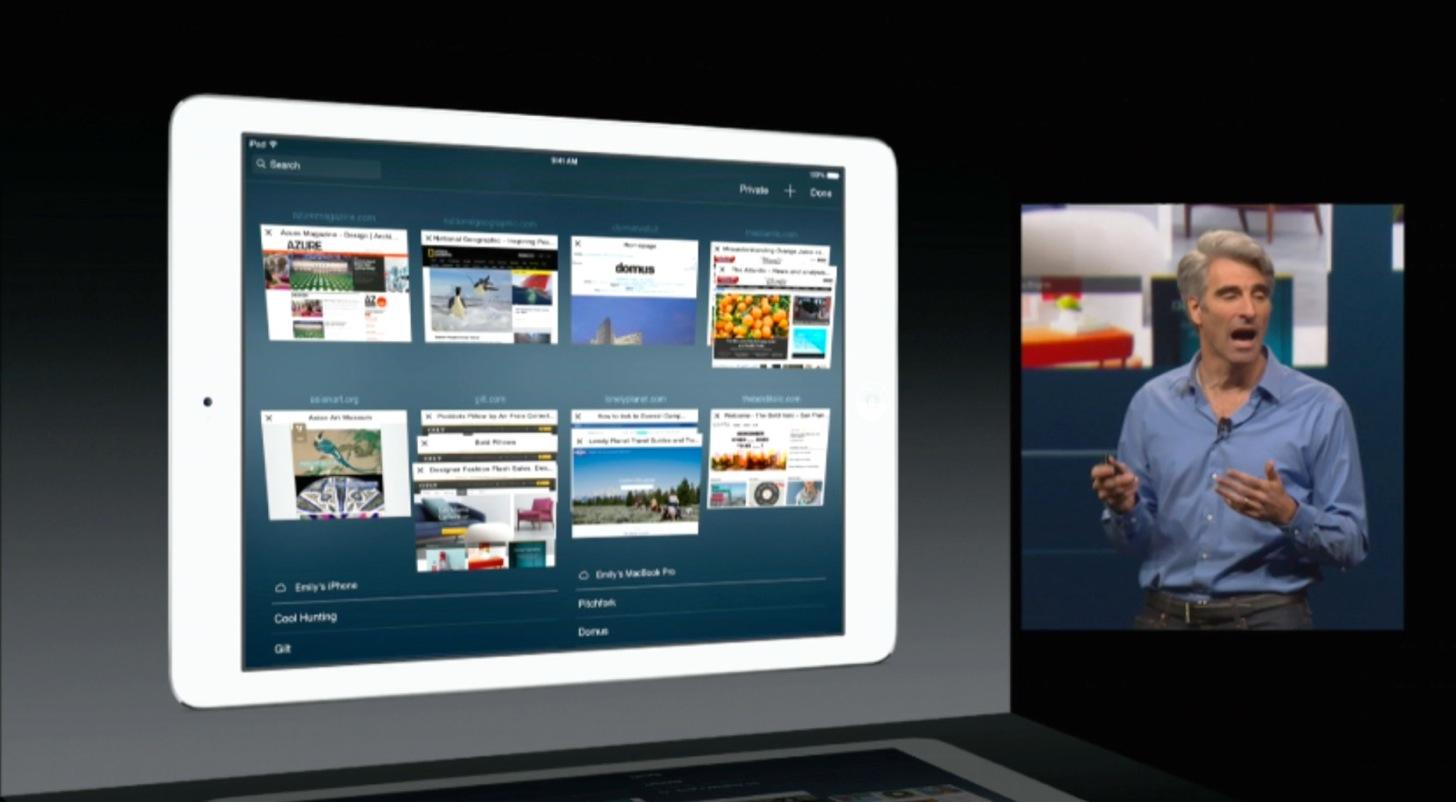 iOS8のiPadのSafariのタブ画面はよりゴージャスに。