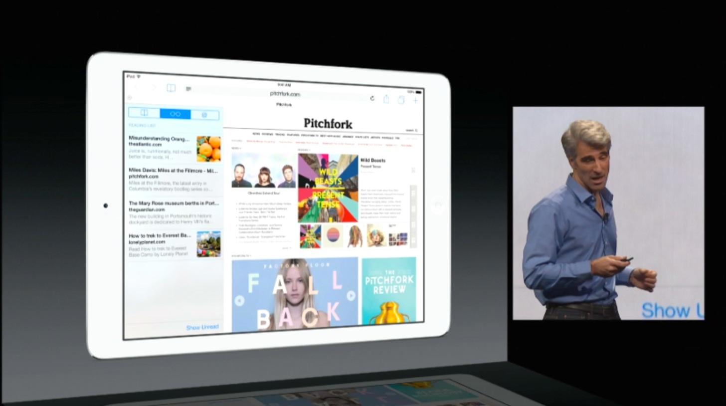 iOS8のiPad版のSafariにはなんとサイドバーが表示できます。