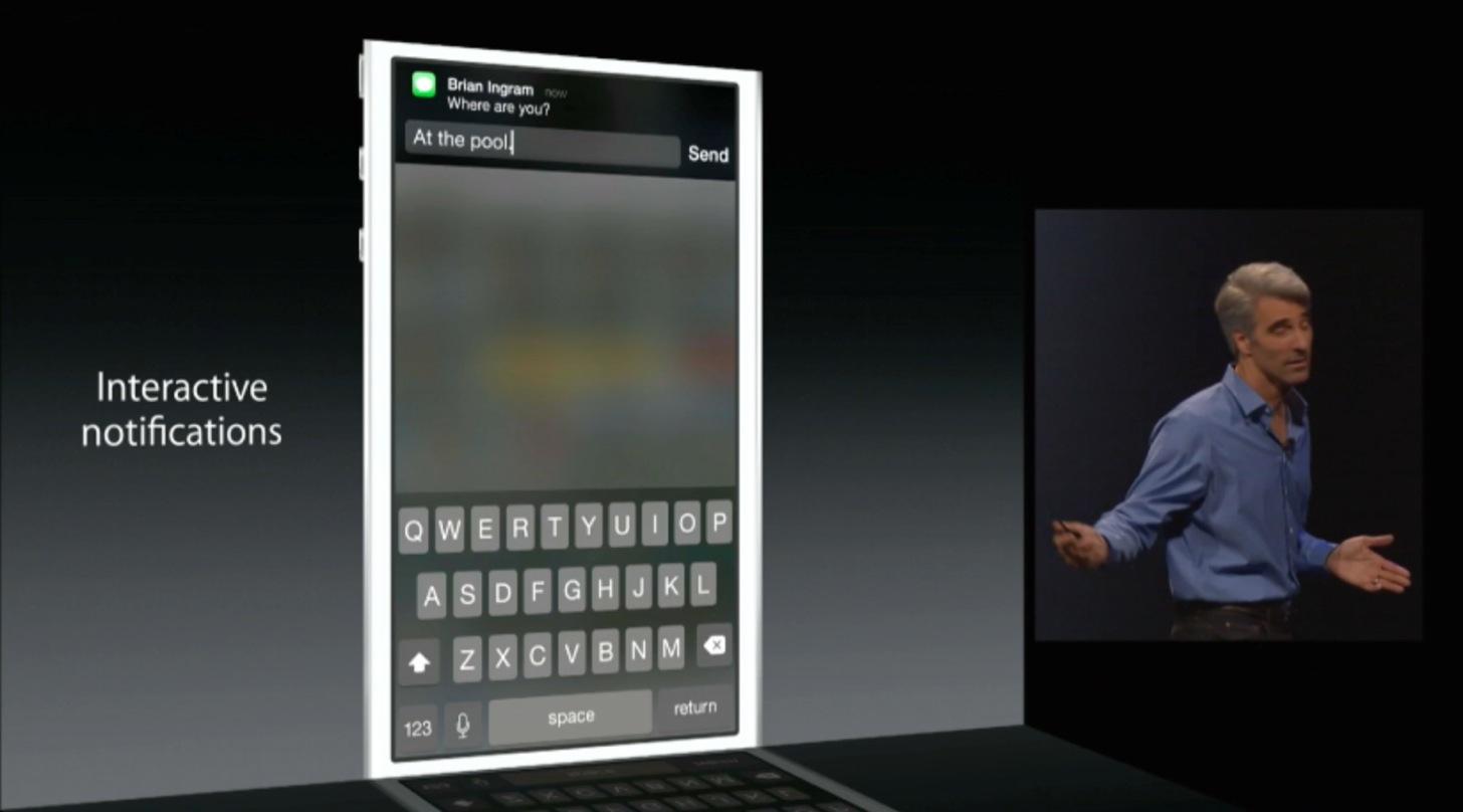 iOS8は通知でメッセージの返信ができる