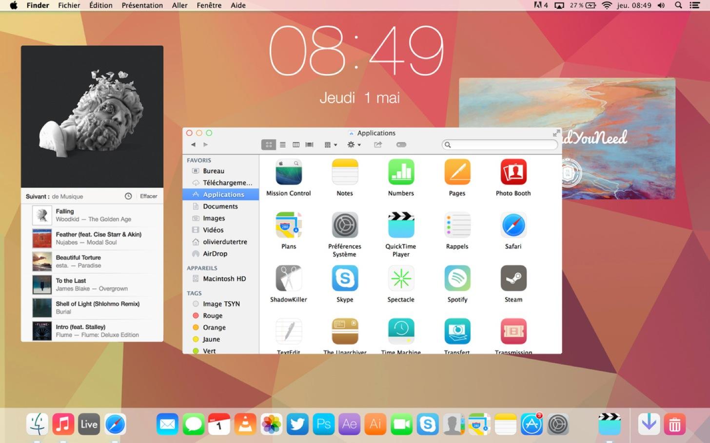 OS X 10.10のフラットデザイン