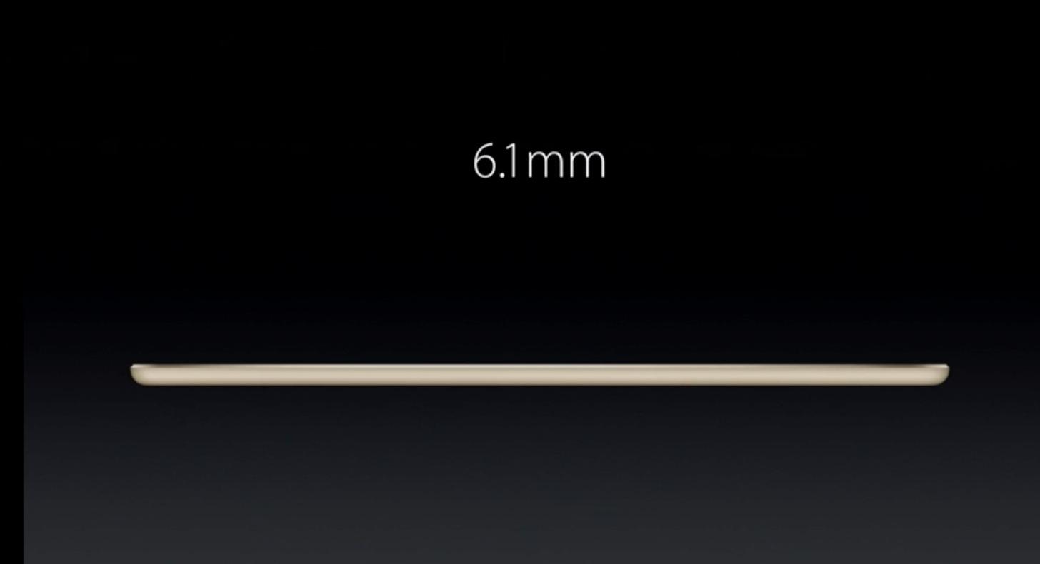 iPad Air 2の厚さは6.1mm。