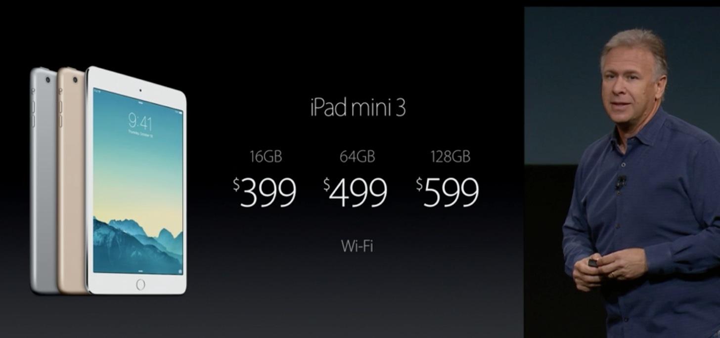 【速報】iPad mini 3が発表。価格は$399から。