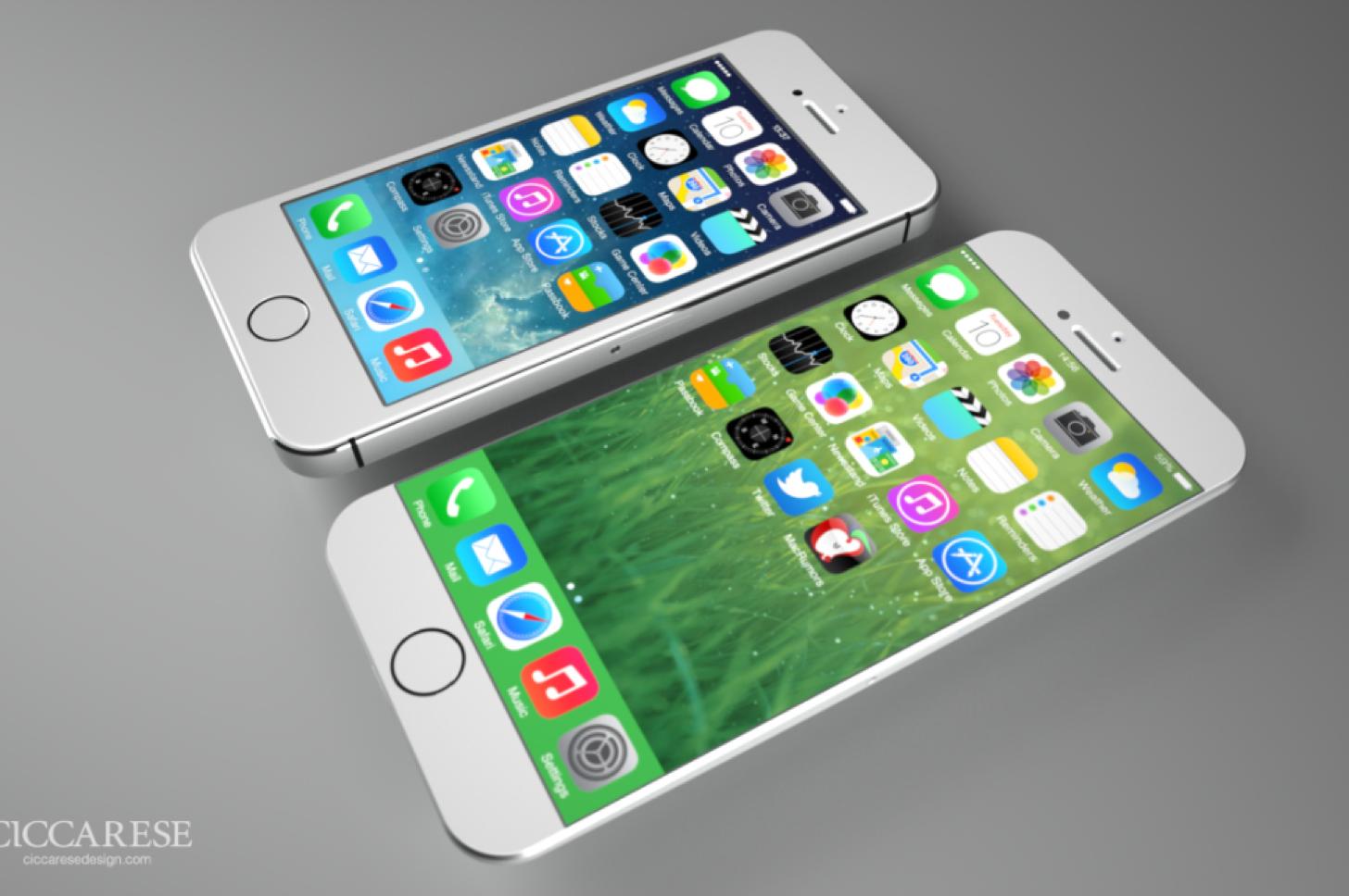 iPhone 6 vs iPhone 5s。二つの筐体を比較した画像。