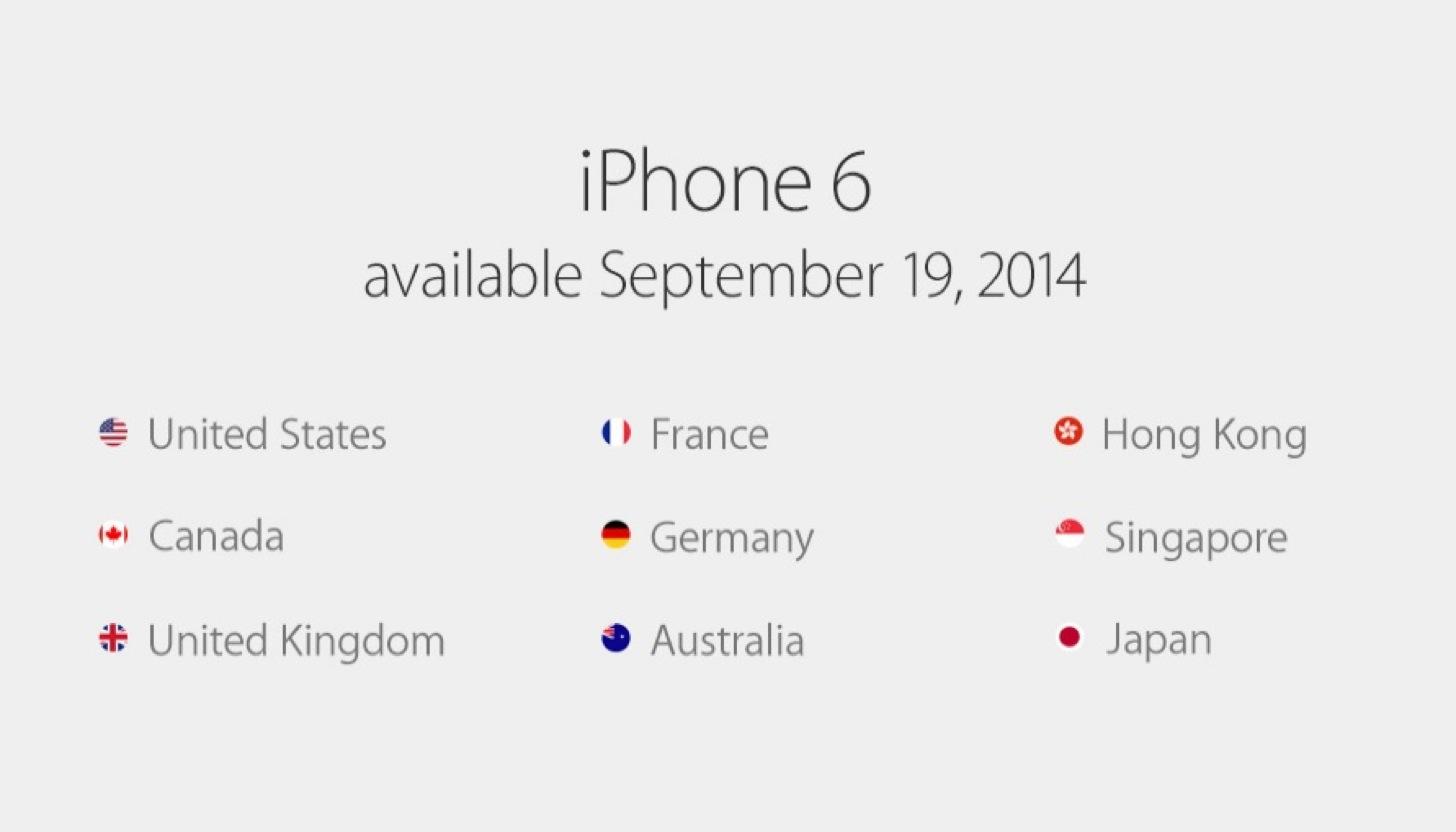 iPhone 6とiPhone 6 Plusの発売日