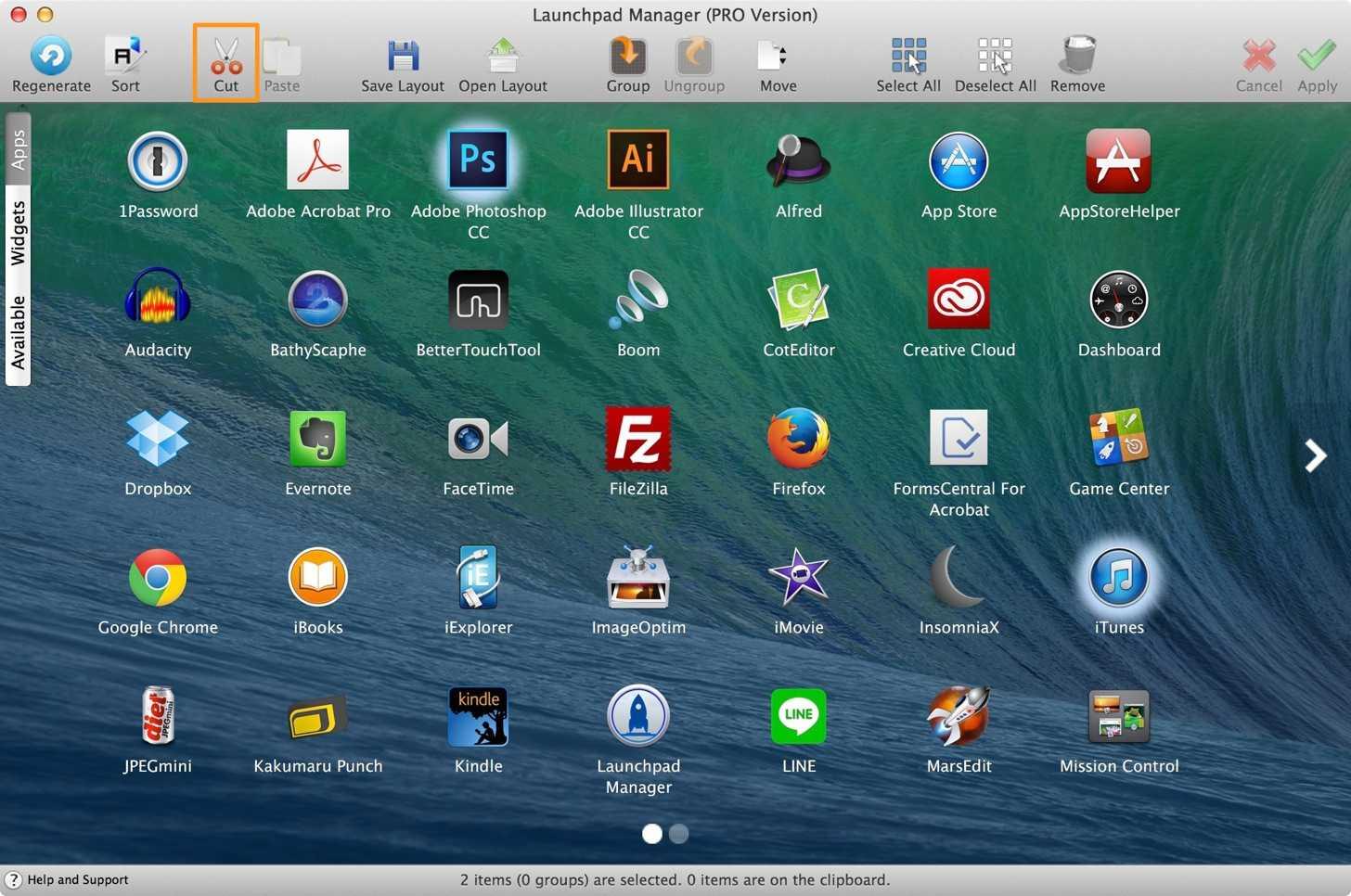 Launchpad Managerで削除したいアプリを選択