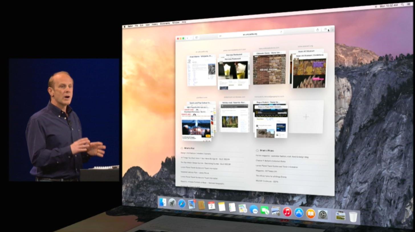 OS X YosemiteのSafari for iPadのタブ機能