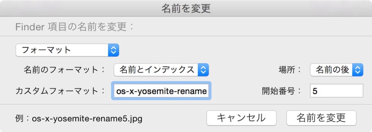 名前を変更(フォーマット)