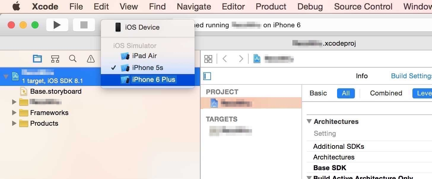 iOS Simulator iPhone 6 Plus