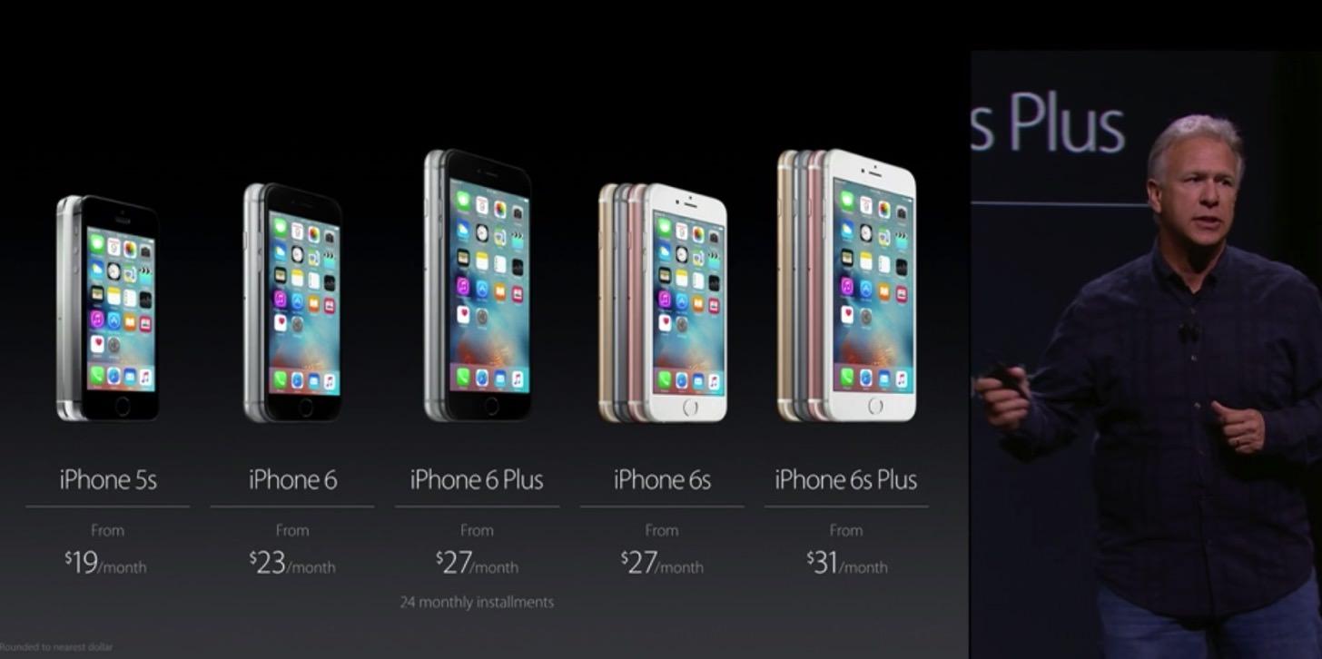 iPhoneの価格の比較表。