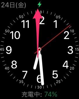 Apple Watchの文字盤画面を上に払います