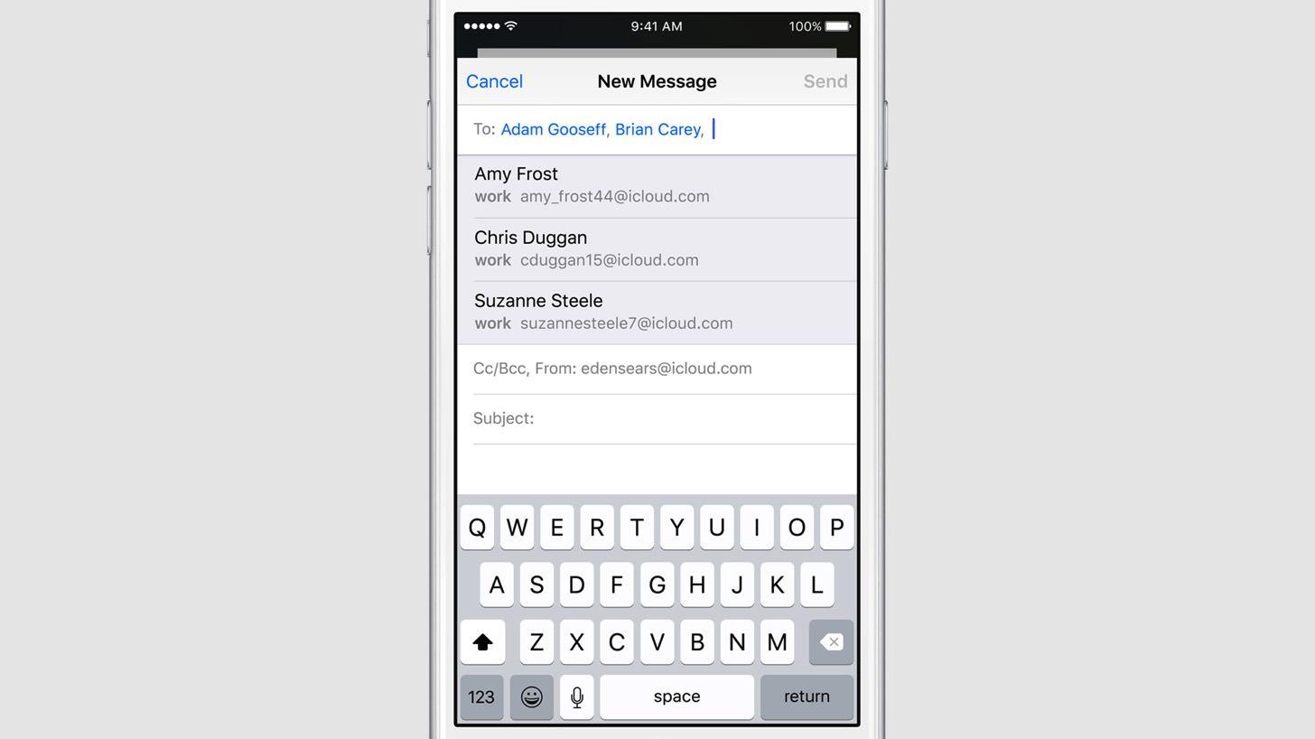 iOS9のメールは宛先のサジェストが可能です。