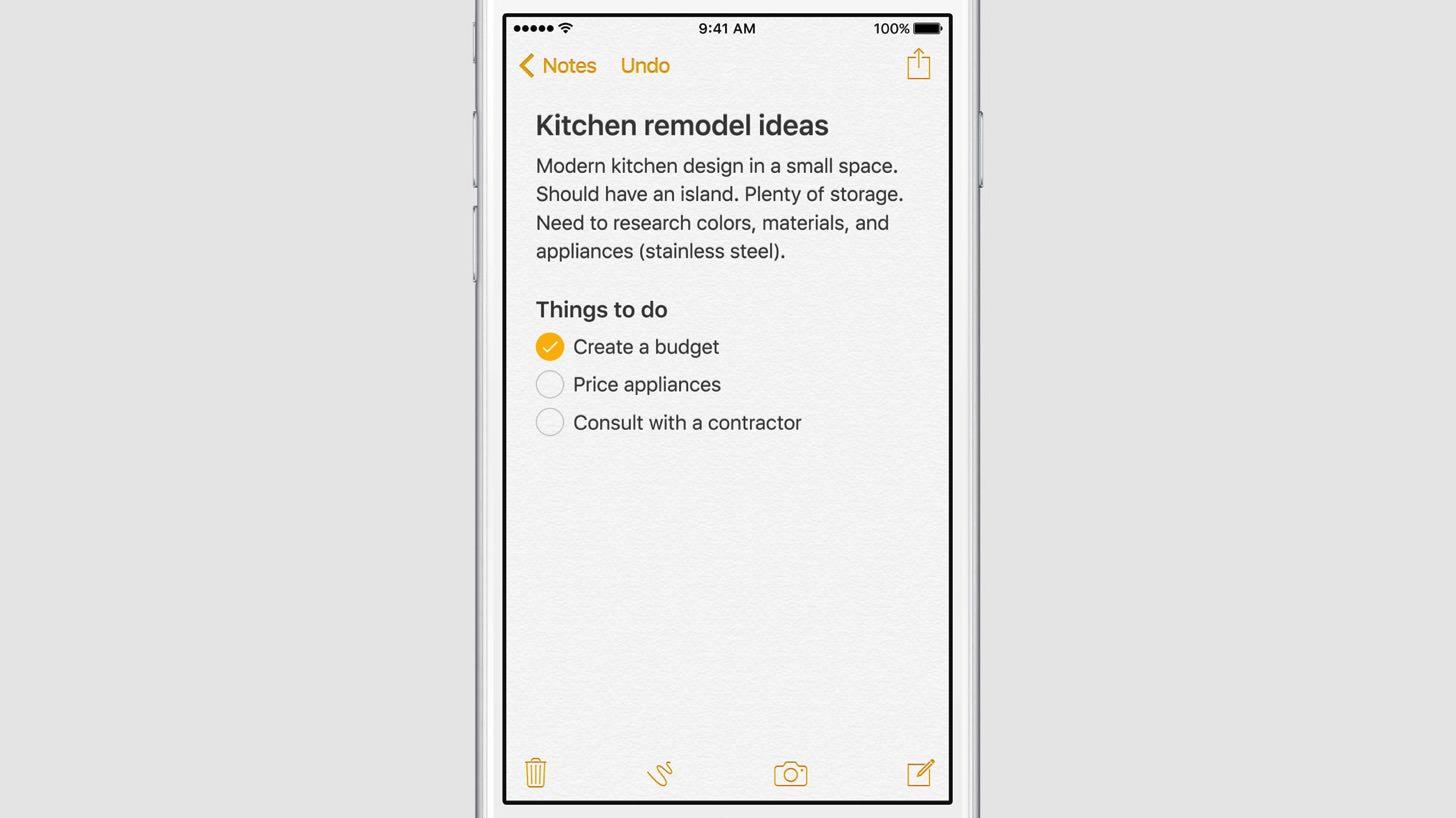 iOS9のノートアプリ