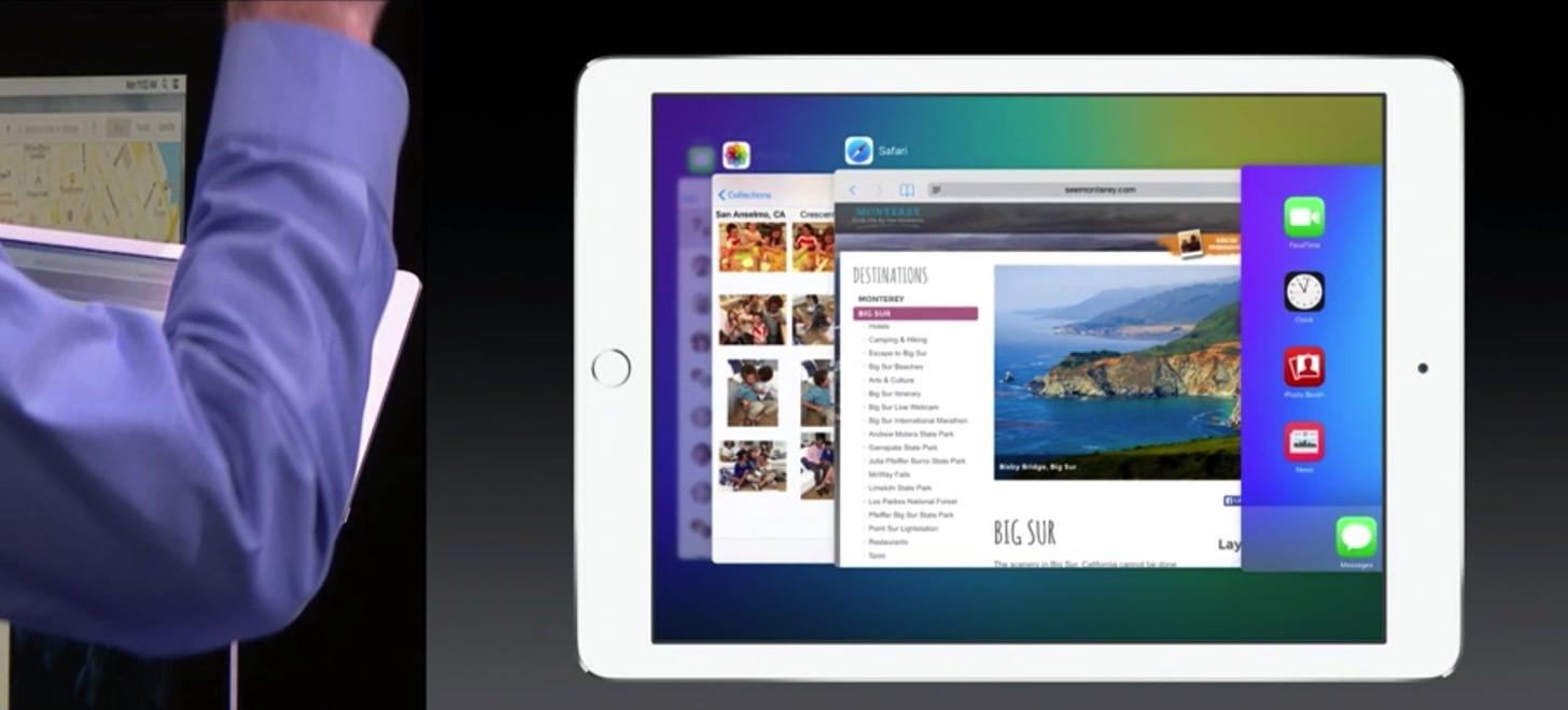 iOS 9のiPadはアプリの切替がゴージャスです。