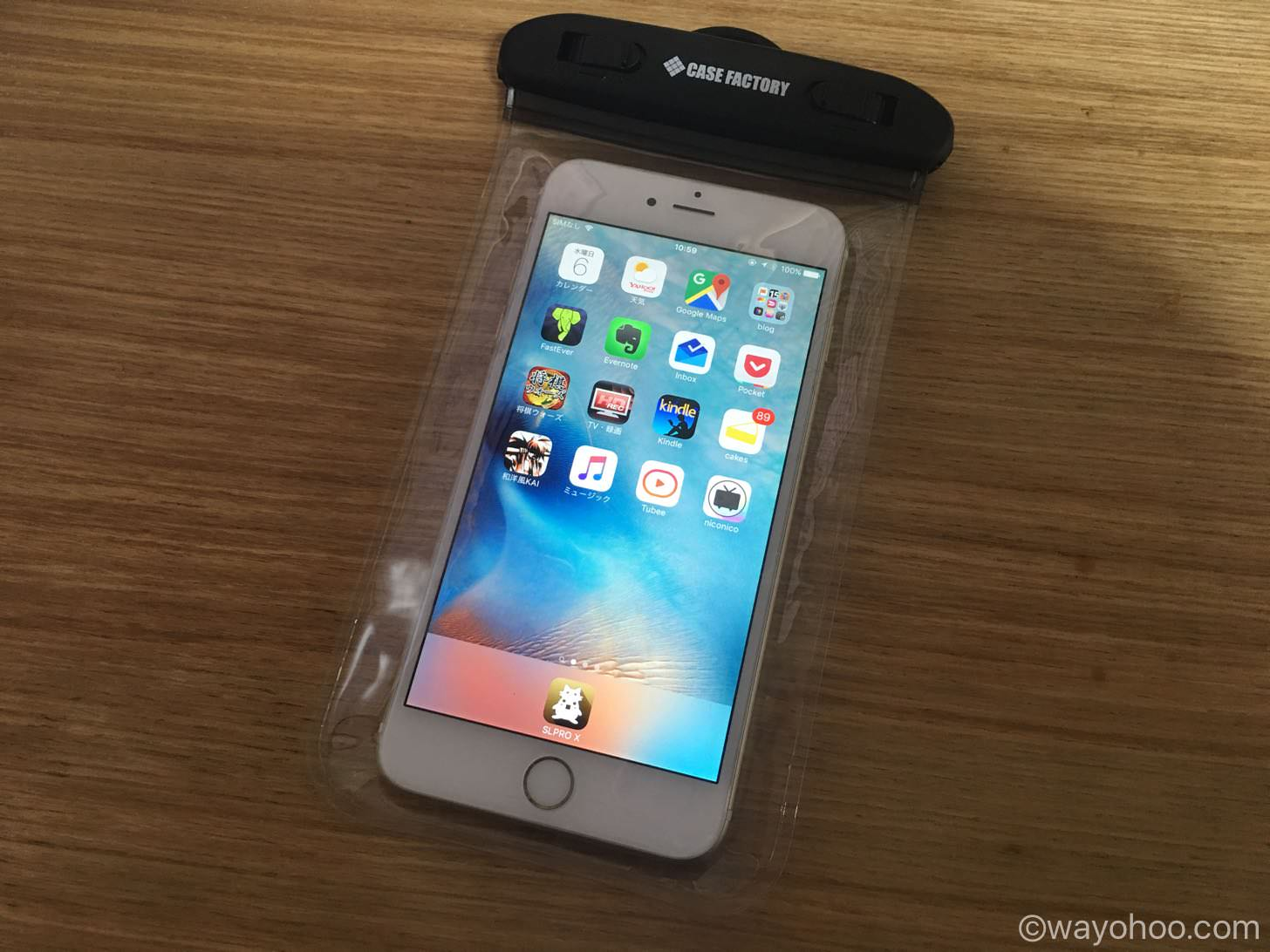 iPhone 6 Plusが入ったCASE FACTORY 防水ケース AQUA MARINA