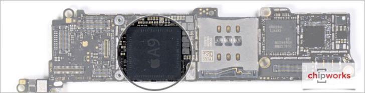 iPhone SEのA9チップの場所。