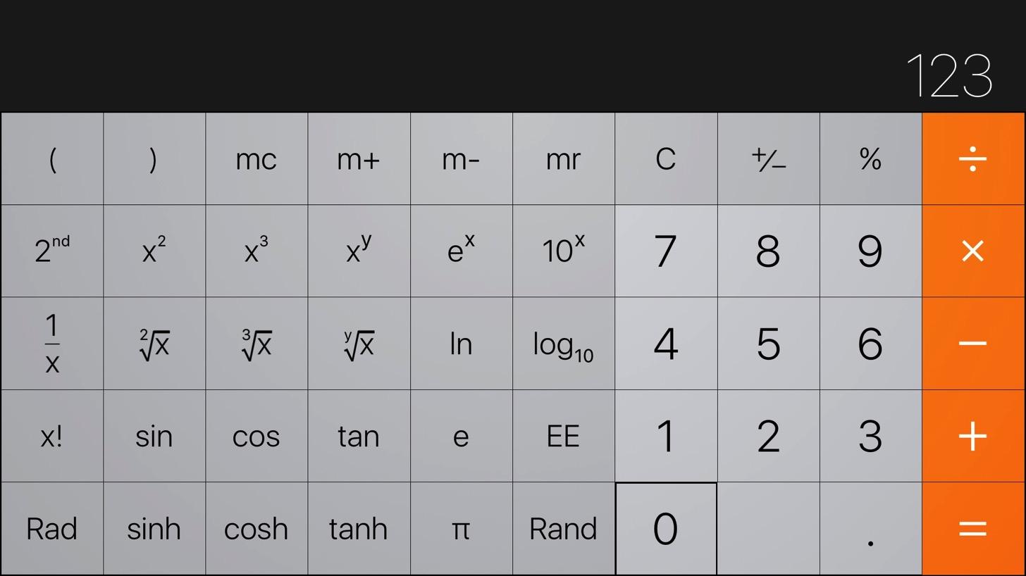 iPhoneの計算機アプリ。