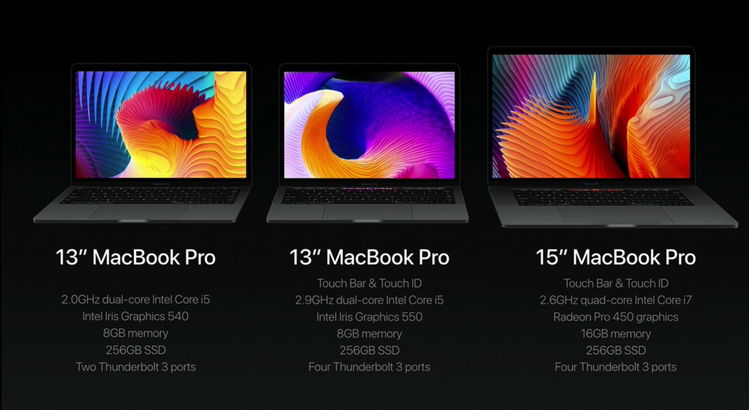 Equipped with a touch Bar the new macbook pro 13 and 15 inches in appearance nashi