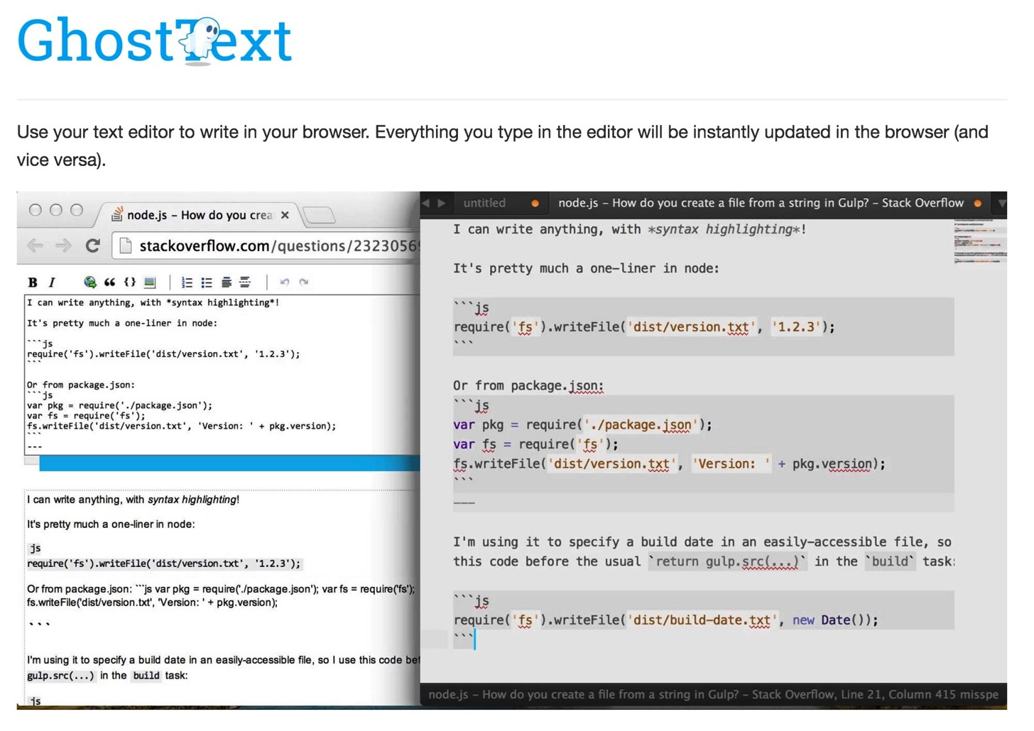 Ghosttext for chrome