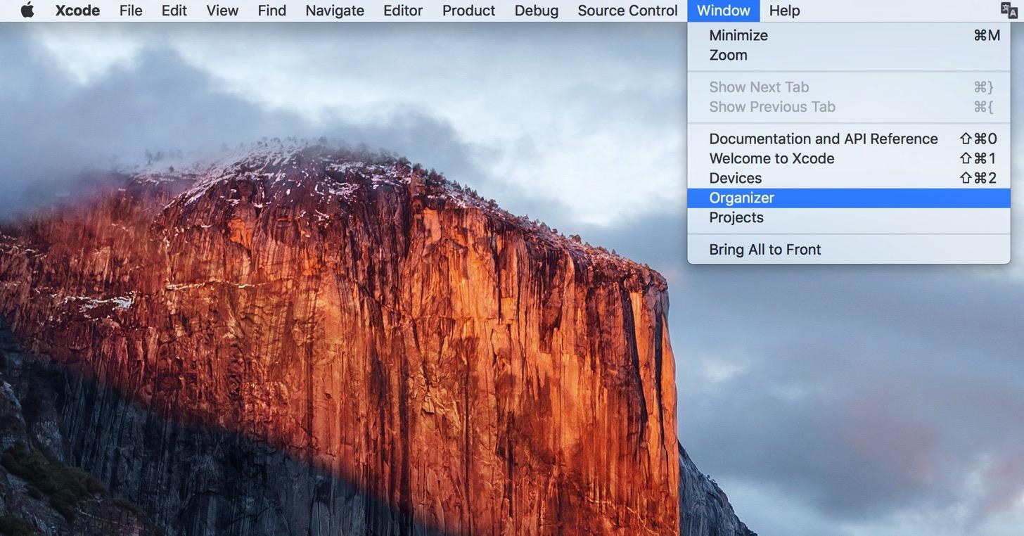 Xcode - Window - Organizer