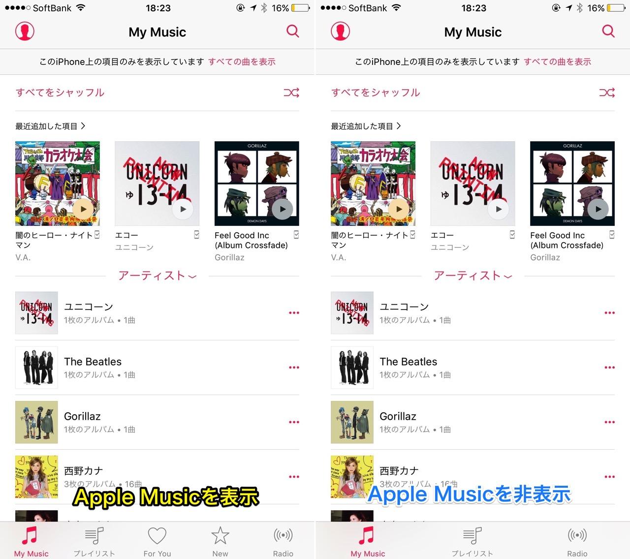Apple Musicを表示・非表示にする。