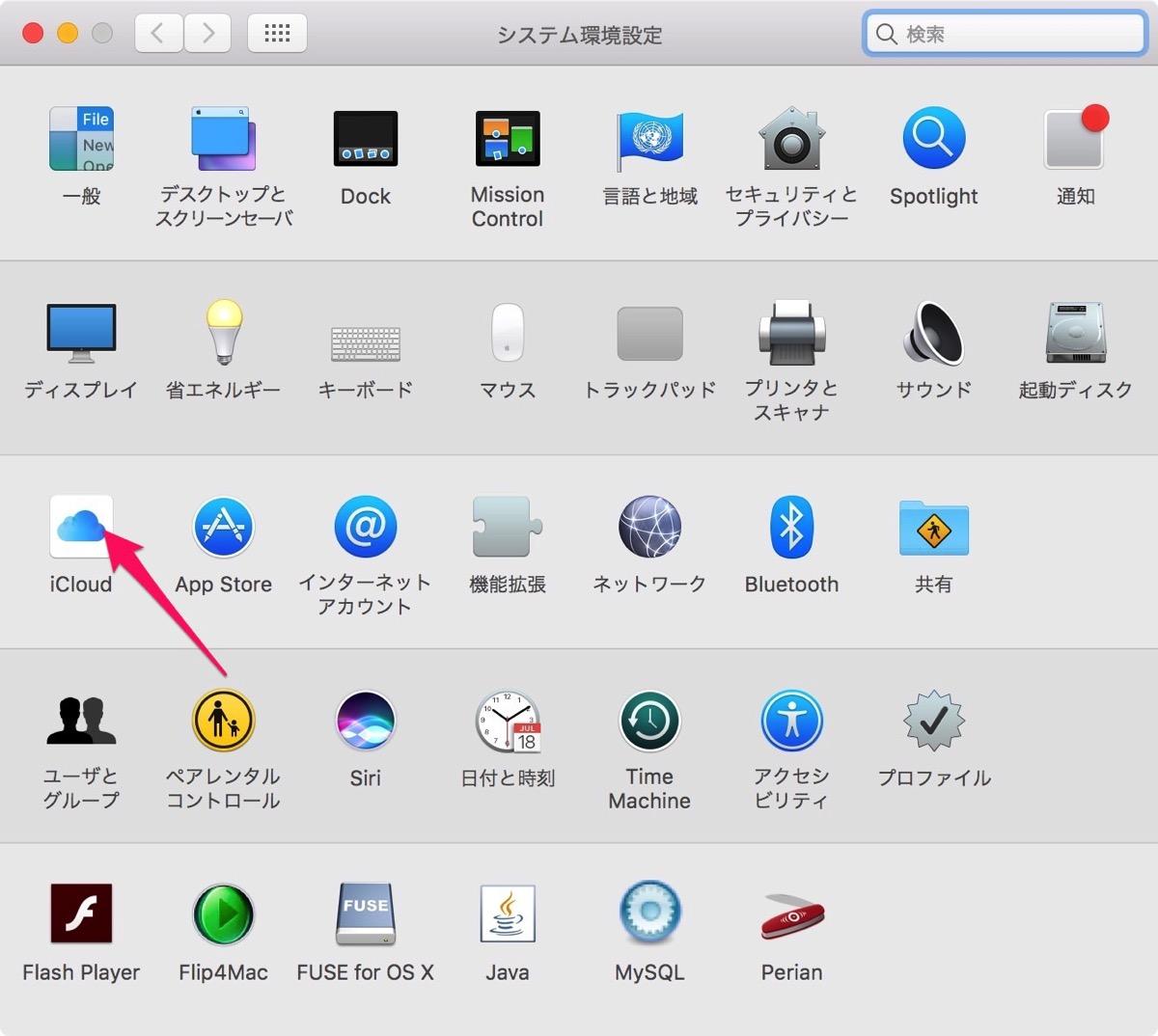 iCloudをクリックします。