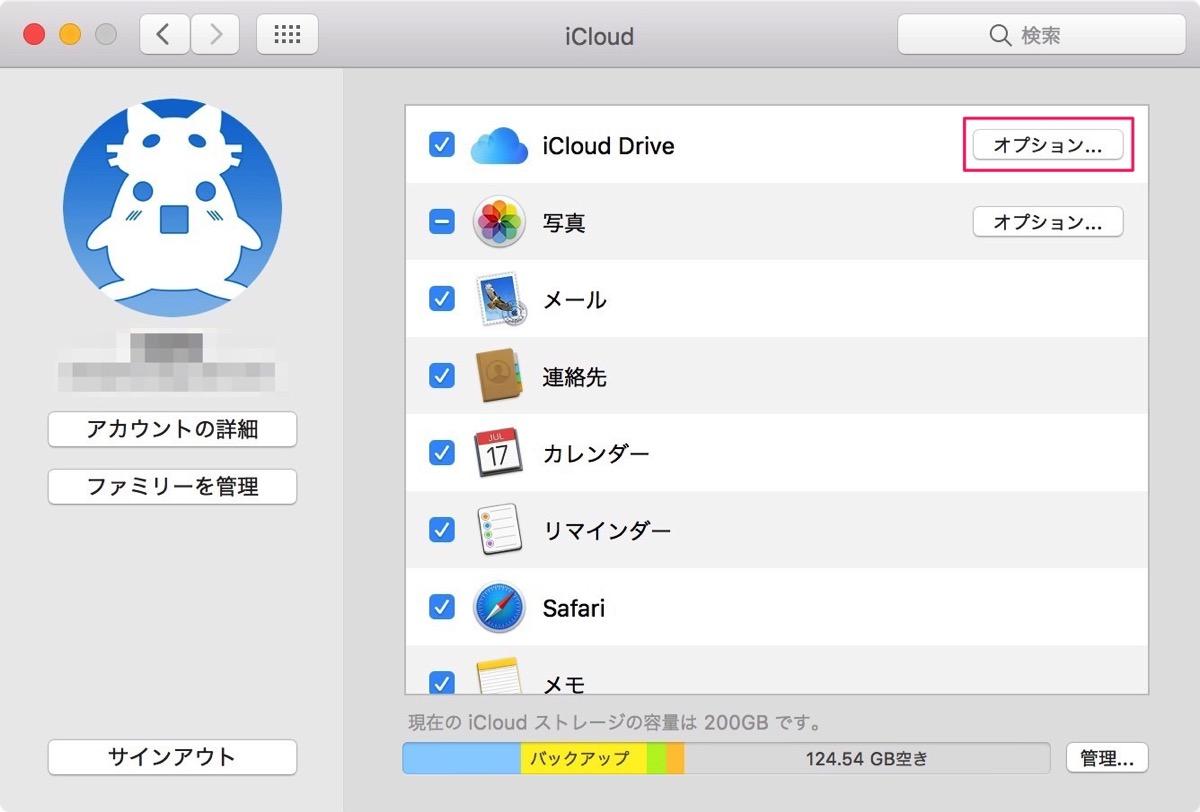 iCloud Driveをクリックします。
