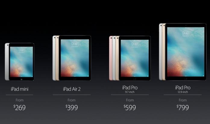 iPad Pro '9.7インチと他のiPadの価格比較表。