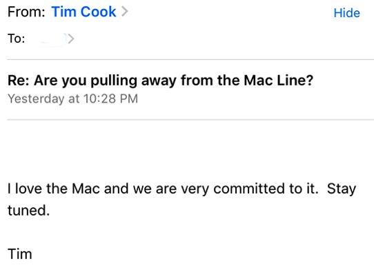 Tim cook mac email majide