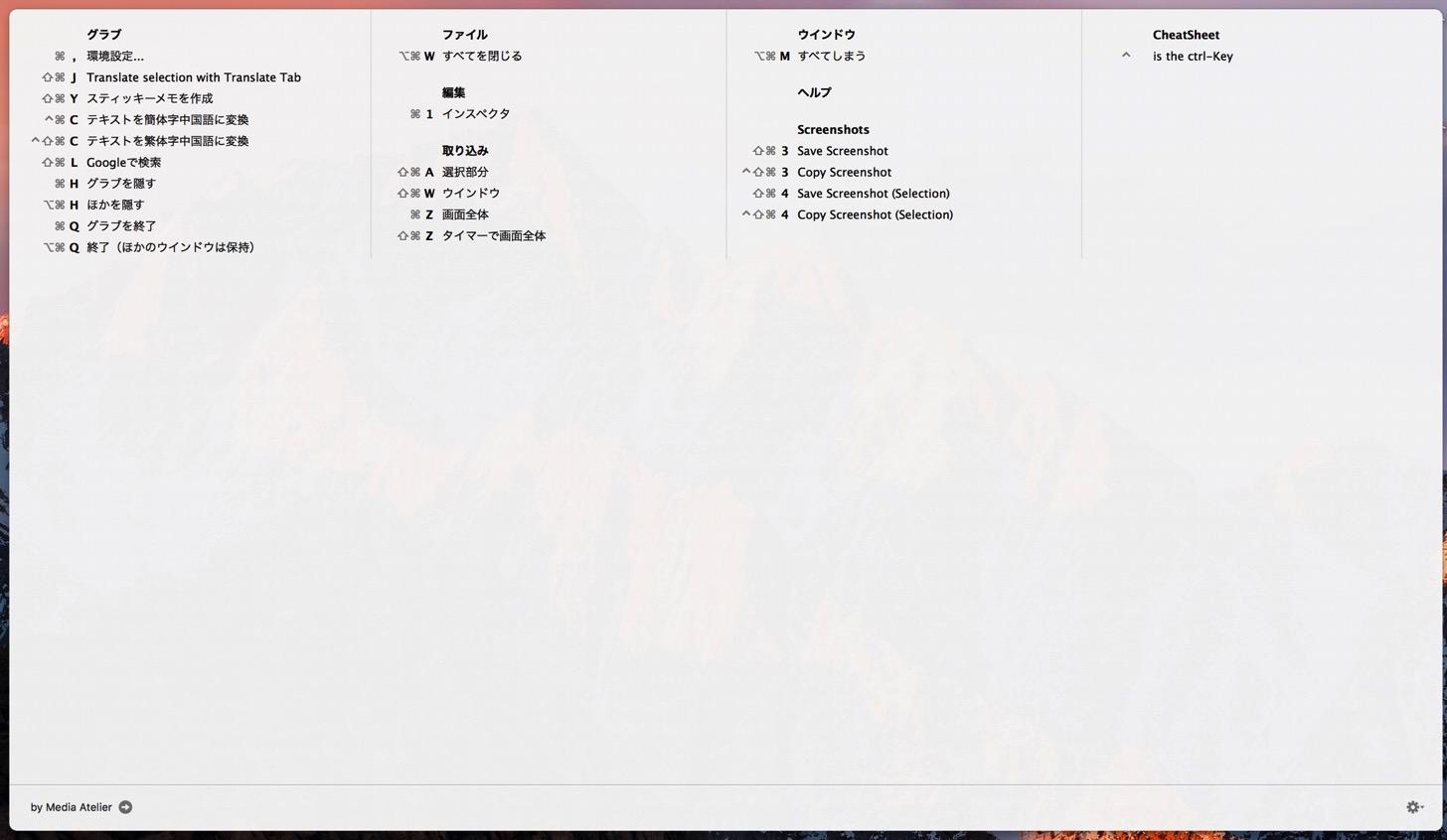 無料 macのあらゆるソフトのショートカットキーを表示できるアプリ